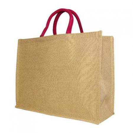 Large juco shopper with pink handle