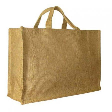 Large jute shopping bag with lavish handle